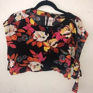 Free People floral tie crop top